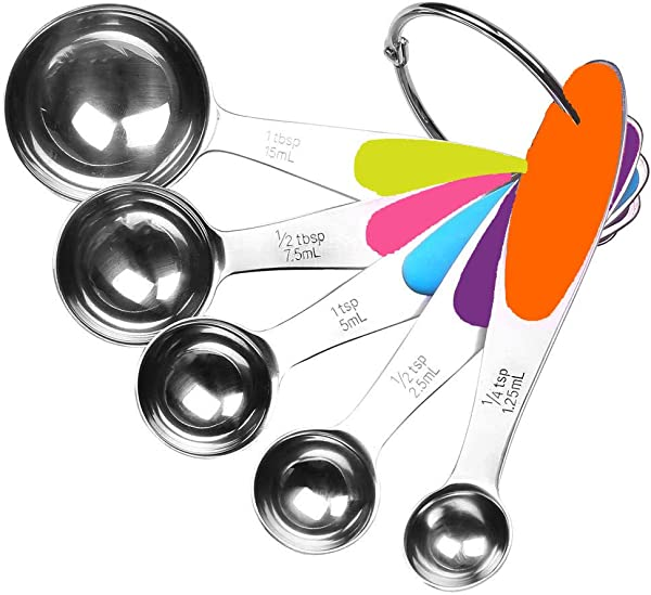 Fsdifly Stainless Steel Measuring Spoons 5 Piece Stackable Set Measuring Set For Cooking And Bakin