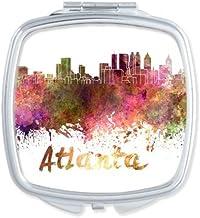 Atlanta América país ciudad acuarela ilustración cuadrado compacto Maquillaje espejo de bolsillo portátil cute pequeña mano espejos regalo