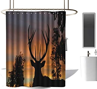 coolteey Shower Curtains for Bathroom Black and Gold Antlers,Black Deer Sky,Background West Coast,South Island,New Zealand Nature,Seal Brown Marigold,W36 x L72,Shower Curtain for Shower stall