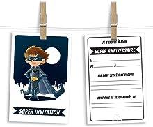 6 cartes et enveloppes invitation anniversaire | Anniversaire fille ou garçon | Thème Super-Héros inspiré de Batman