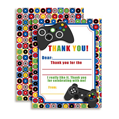 """Game On Video Gamer Themed Thank You Notes for Kids, Ten 4"""" x 5.5"""" Fill in the Blank Cards with 10 White Envelopes by AmandaCreation"""