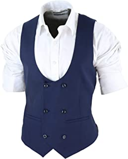 Paul Andrew Mens Navy Double Breasted Tailored Fit Classic Retro Office Smart Formal