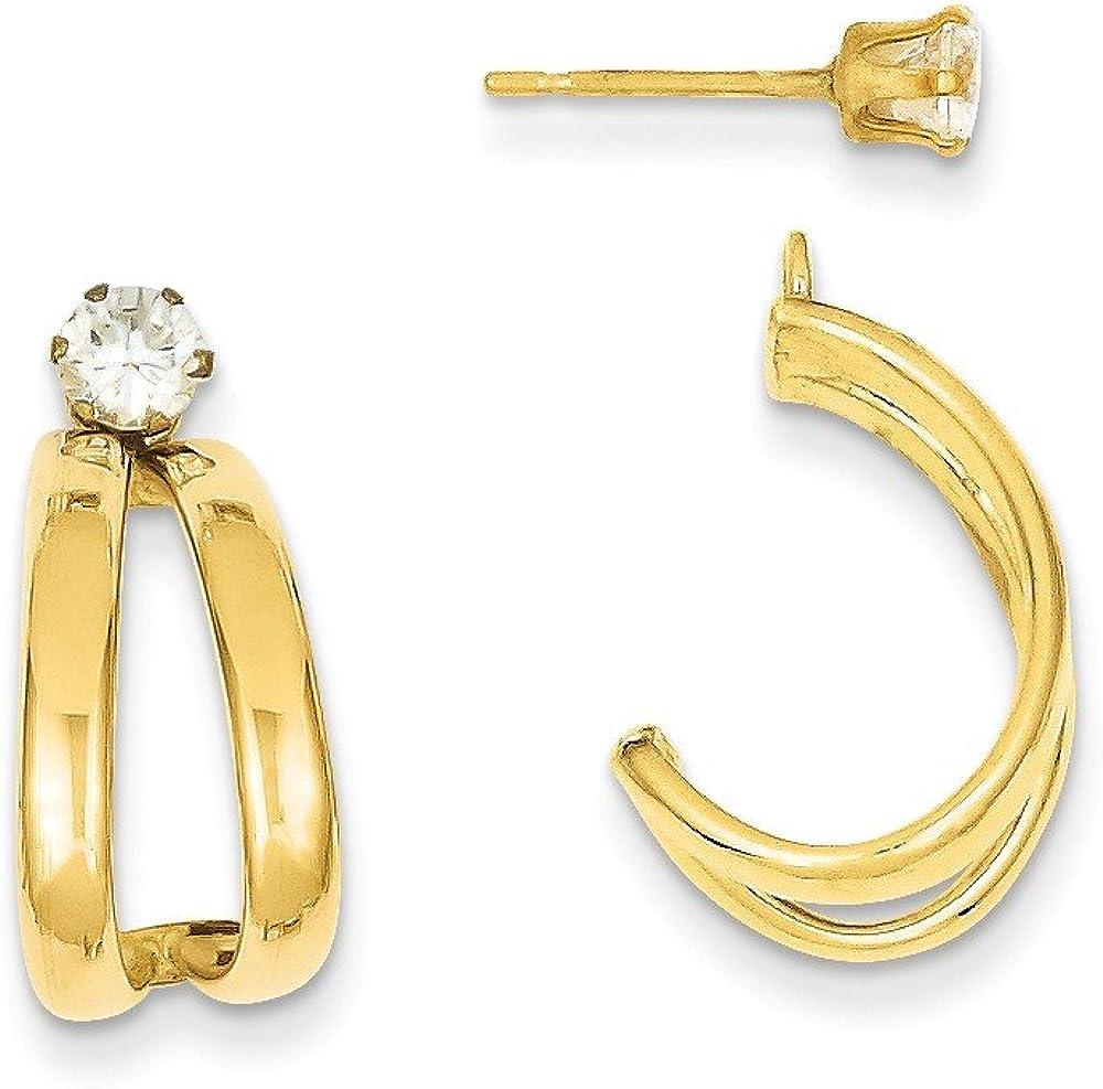 Genuine 14k Yellow Gold Yellow Gold Polished w/CZ Cubic Zirconia Stud Earring Jackets 18x9mm