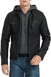 Men's Faux Leather Jacket with Detachable Hood,Biker Jacket for Spring Fall and Winter