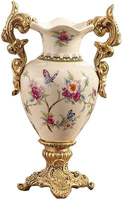 Vintage Jarrónes flor grande de Floreros decorativo mesa cerámica retra de estilo para el salón Mesa de comedor Dormitorio Oficina del hotel Decoración del hogar Jarrón altos (43 × 17 cm)