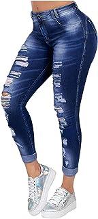 HINK Jeans de Mujer, Jeans de Moda para Mujer, Jeans Casuales, Jeans Ajustados con Flecos Rasgados para Mujer