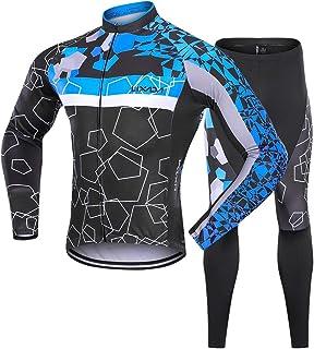 Lixada Men`s Cycling Jersey Suit Winter Thermal Fleece Long Sleeve Mountain Bike Road Bicycle Shirt Padded Pants