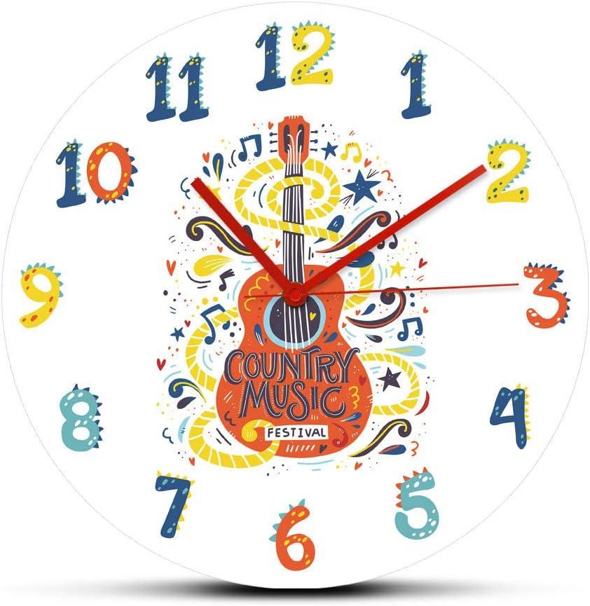 Patrón Reloj de Pared Acoustic Guitar Country Max 53% OFF Nashville Music 4 years warranty La