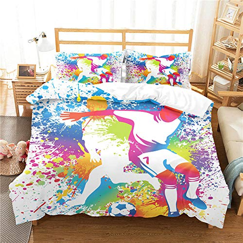 Evvaceo 3D Printed Teenager Children Kids Bedding Set With Microfiber Zipper Quilt Case & Pillowcases Creative Colorful Graffiti Football 200 Cm X 200 Cm Duvet Cover Set For Boy Girl Sing(Double)