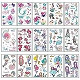 YueMing 15 Hojas Sirena Tatuajes Temporales Niñas, Dibujos Animados Tatuaje, Impermeables Falso Pegatinas para Niños Infantiles Fiesta de Cumpleaños Regalo