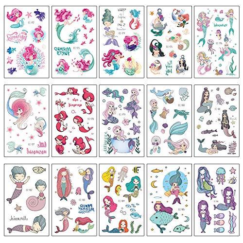 YUEMING 15 Stks Zeemeermin Tatoeages Set, Tijdelijke Cartoon Tatoeages Kinderen, Waterdichte Meisjes Tattoo Stickerstickers, Verjaardagsfeestje voor Kinderen, Feest, Festival Decoraties