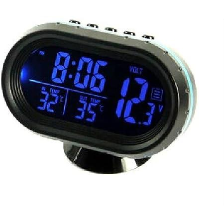 Hotsystem 12 24v Multifunktion Digital Uhr Voltmeter Und Thermometer Alarm 3in1 2 Lcd Anzeige Farben Zigarettenanzünder Batterie Tester Blau Orange Auto