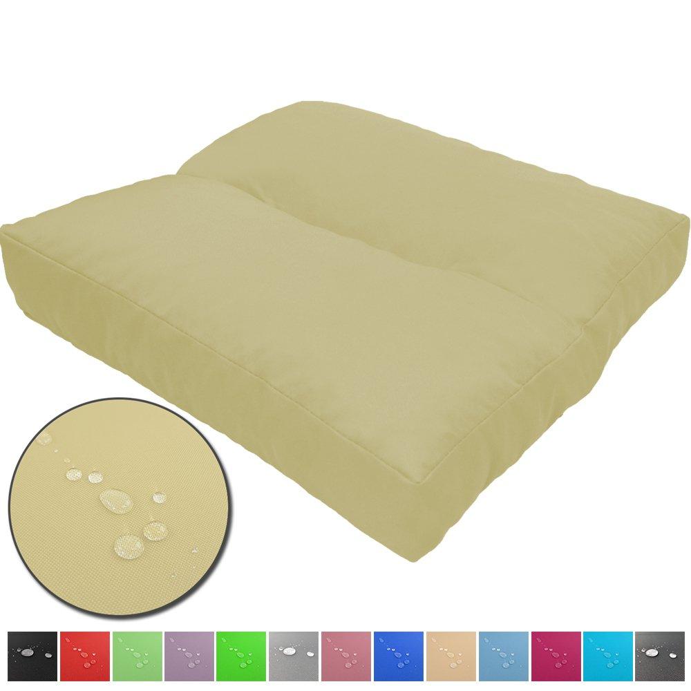 Cojines de asiento LoungeWave para jardín - Cojines outdoor repelentes al agua y acolchados para bancos, sofá en palets u otros asientos de jardín, Color:Crema, Talla:40 x 40 cm: Amazon.es: Hogar
