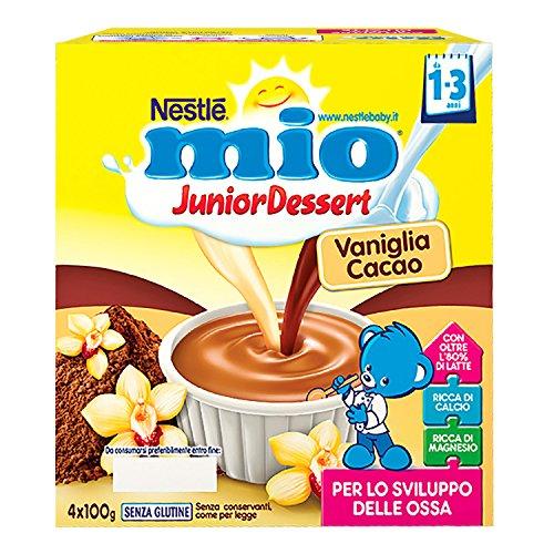 Nestlé Mio Merenda al Latte Vaniglia e Cacao, Senza Glutine, per Bambini da 1 a 3 Anni, 4 Vasetti da 100 g