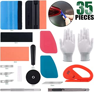 Keadic 37Pcs Car Vinyl Wrap Tool Kits, 2 Kinds Vinyl Wrap Felt Squeegees with Fabric Felts, Vinyl Graphic Magnet Holders, Safety Vinyl Cutter, Film Scrapers, Gloves, Utility Knife, Hobby Knife