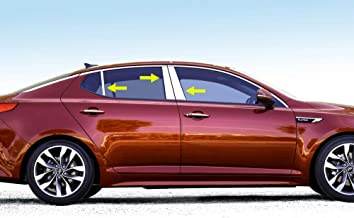Made in USA! Works with 2011-2015 Kia Optima 6PC Stainless Steel Chrome Pillar Post Trim
