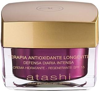 Atashi Antioxidante - Crema Hidratante Regenerante SPF 15 | Protección Hidratación Confort y Suavidad | Con Ácido Hialur...