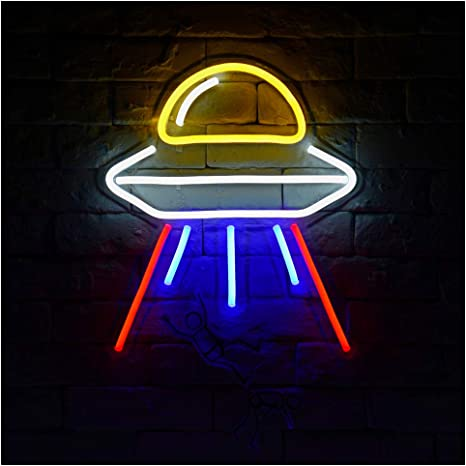 Alien Spaceship A Led Neon Sign Lights Kids Room Decor Amazon Com