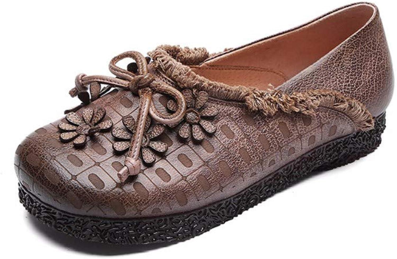 kvinnor skor Natural Natural Natural läder Soft Flat Loafer Sandals Easy on bspringaaa Round Toe Low Heel Retro Flower Bow Vintage Original Design Handgjord Casual Andable Ladies gående Boat skor  upp till 65% rabatt