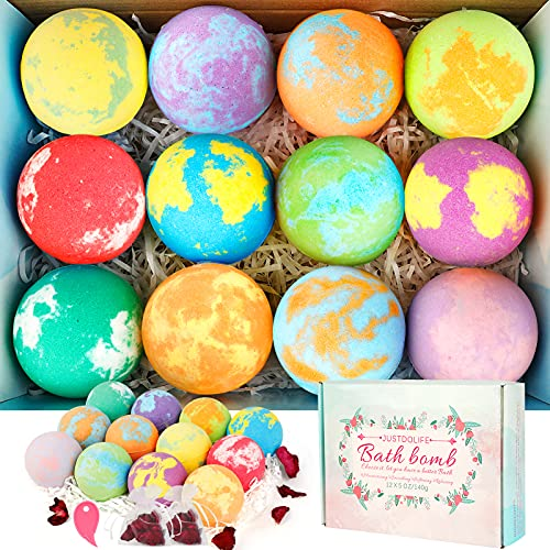JUSTDOLIFE Bath Bombs Gift Set: 12 x 5oz Handmade Bath Bombs with Roses Flowers, Vegan Pure Essential Oils & Coconut Oil & Shea Butter, Fizzy Spa Kit - Best Gifts idea for Women, Girls, Kids
