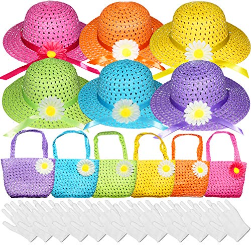 Vegove 6 Girls Tea Party Straw Hats Princess Country Girl Dress Up with Purse and Glove