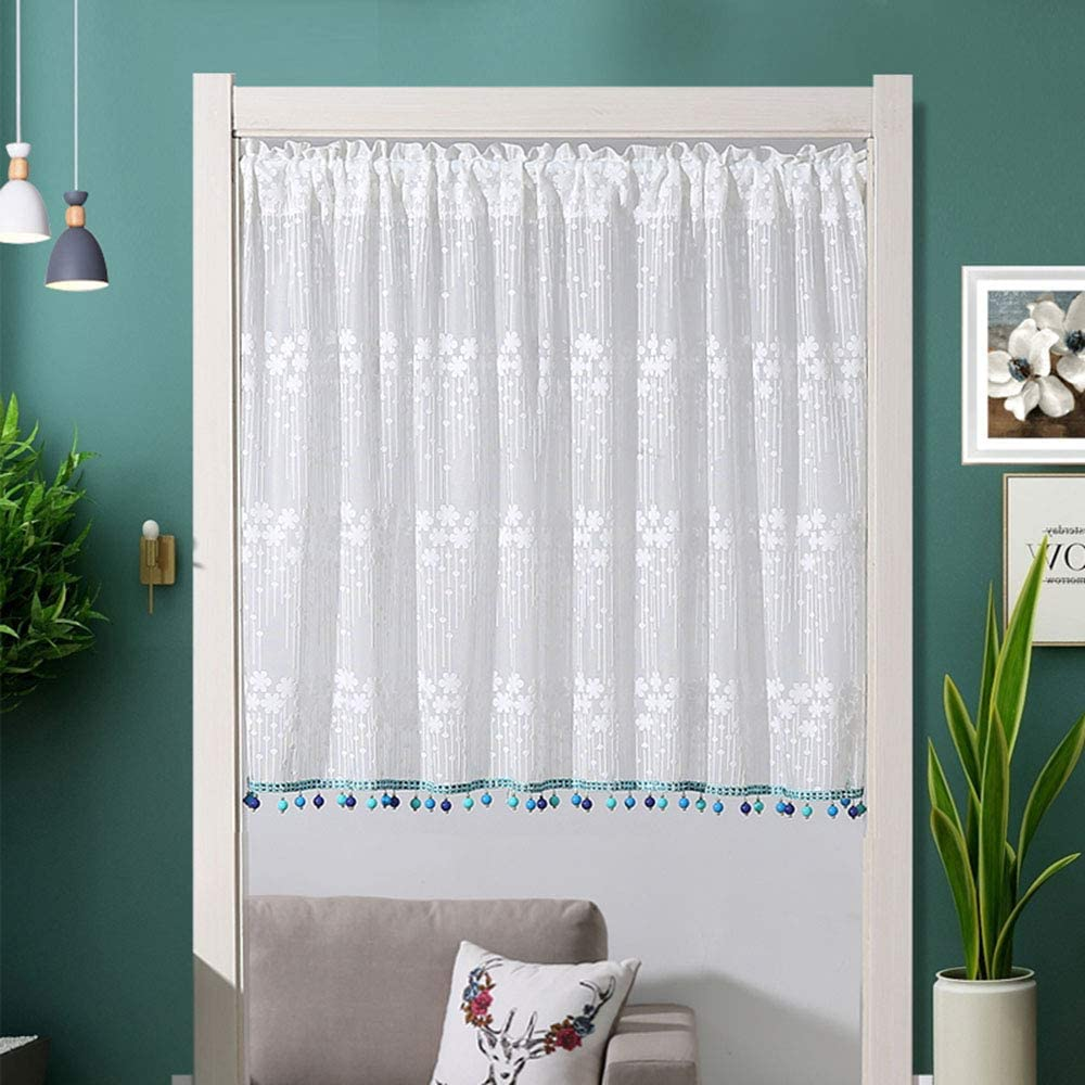 F-XW Embroidered Reservation Tier Curtains Semi Treatmen Charlotte Mall Voile Window Sheer