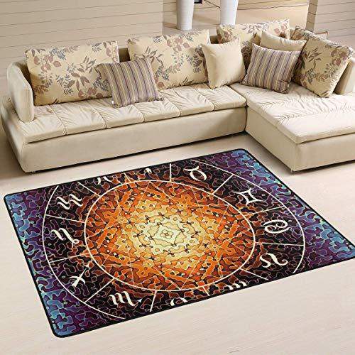 Joe-shop Mandala Constellation Alfombras Antideslizantes para Sala de Estar Alfombra de Dormitorio Alfombra para niños Alfombra para Suelo Estera de Yoga 60x39 Pulgadas / 150x100cm RUG-502