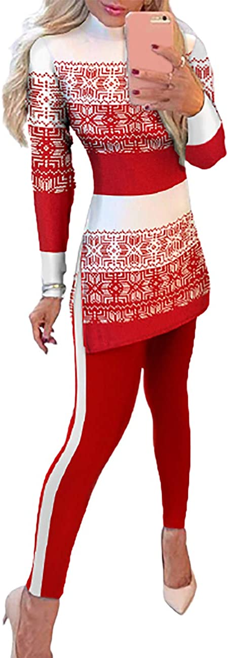 Ninimour Solid Knitted Long Sleeve Skinny T-Shirts with Skinny Pants Suit Sets
