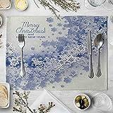 AMDXD Manteles Individuales 4 Unidades, Merry Christmas & Happy New Year! Copos de Nieve Tapete Mesa para Cocina Comedor (Café), Algodon Lino, 42x32cm, Azul Blanco