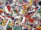 Set von Länderaufkleber, Land, Fahnen, Länderform Stickers Set, Welt, Europa, globus, viel Aufkleber, Reise, Erinnerungen, Koffer (50)