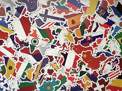 SBS Lot de Stickers Pays, Drapeaux, Forme Pays, Voyage, Souvenir, Europe, International Nations, région, Sticker Autocollants Voyage, Valise, Carte, Globe, Laptop, America, Vintage (50)