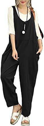5f8f13ea23604 Aedvoouer Women s Casual Overalls Loose Jumpsuit Rompers Large Plus Size  Harem Wide Leg Pants