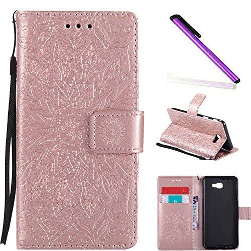 HMTECH Samsung Galaxy J5 Prime Case On5 2016 case Sun Flower Embossed Floral Wallet Case Card Slots PU Leather Flip Stand Cover for Samsung Galaxy J5 Prime (SM-G570) KT Mandala Rose Gold