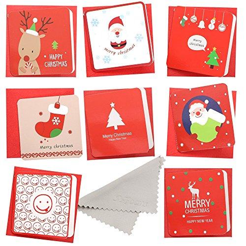 クリスマスカード セット 8枚入り メリークリスマス カード Xmas グリーティングカード プレゼント付きのカード メッセージカード ノートカード 封筒付き サンタクロースの赤シリーズ Red