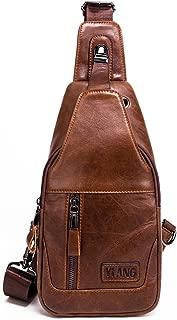 Leathario Men's Leather Sling bag Chest bag One shoulder bag Crossbody Bag Backpack for men (Brown-86)