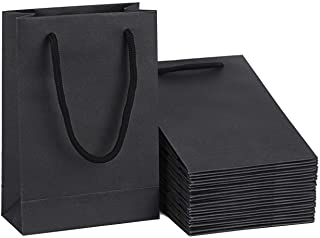 Driew Black Gift Bags, Black Gift Bags with Handles 5x2x7.5 inches with Cotton Handle Pack of 50 (Black)