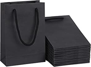 Driew Small Gift Bags, Kraft Paper Bags Black Gift Bags 5x2x7.5 inches with Cotton Handle Pack of 50 (Black)