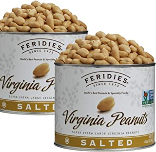 FERIDIES Salted Super Extra Large Virginia Peanuts 40oz Vacuum Sealed Tins (Pack of 2)
