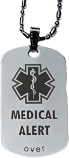 Custom Engraved Medical Alert Tag Pendant Necklace in Gold or Silver (Silver) - Free Personalization
