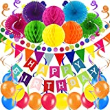ZERODECO Decoração de festa de aniversário, faixa multicolorida de feliz aniversário com fãs de papel, bolas de colmeia, galhardetes triangulares, guirlanda de papel circular, espirais de pendurar e balões