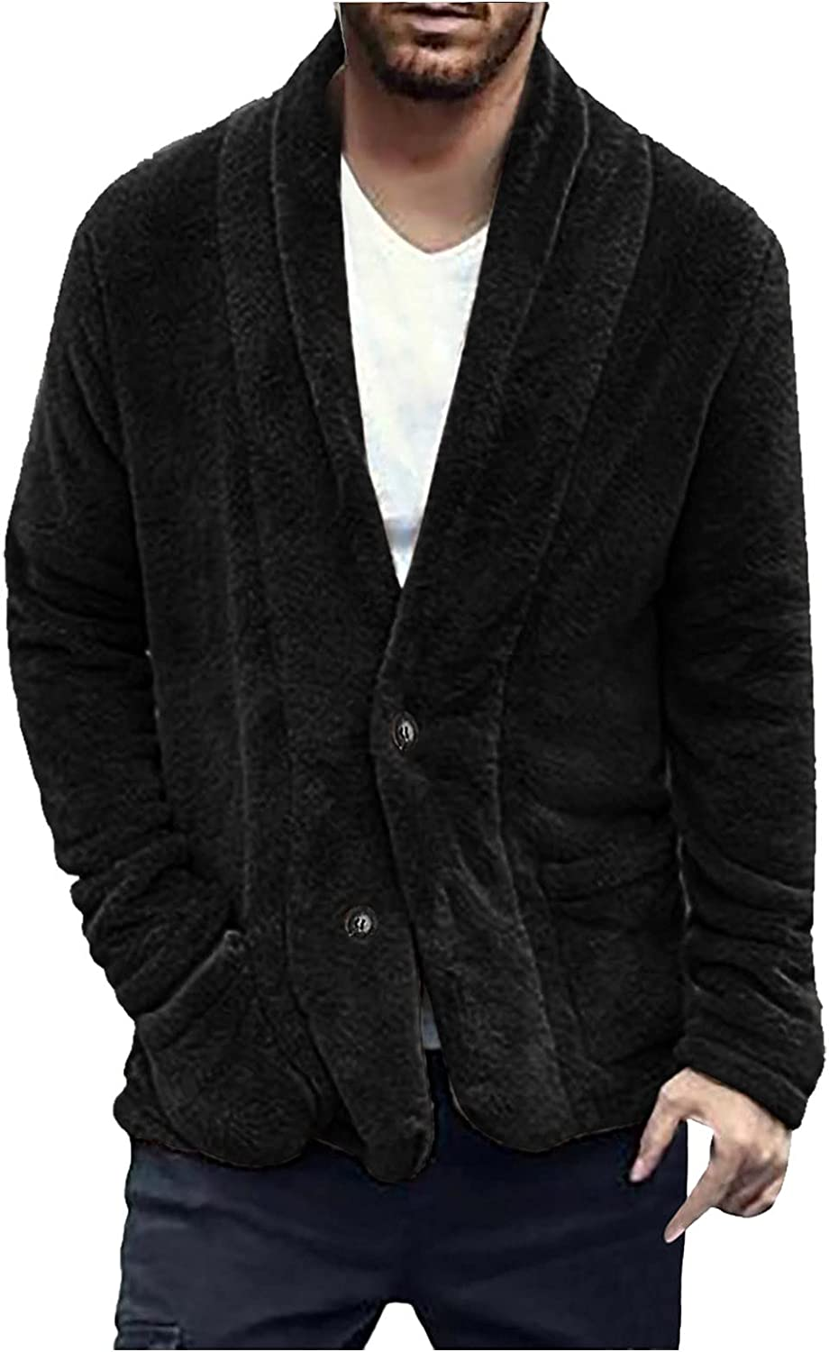 XXBR Fleece Cardigans for Mens, Fall Double-sided Fluffy Single Breasted Button Casual Fuzzy Outerwear with Pockets