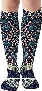 Decorative Rosette Medallion Vintage Compression Socks For Men & Women Graduated Compression - Medical Grade For Varicose Veins, Edema, Severe Swelling In Feet & Legs 19.68 Inch