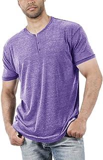 Sponsored Ad - Men's Short Sleeve Henley Shirt Casual Comfy V Neck T-Shirt Solid Color Tee Tops