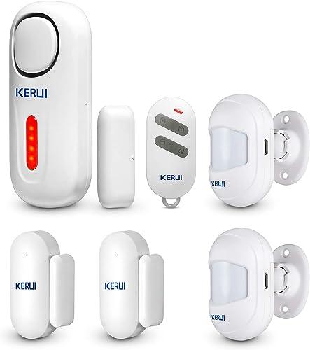 KERUI D2 Alarma de Puerta y Ventana, Kit Alarma Casa Antirrobo Inalámbrico con Sensor/Detector Movimiento con Sonido ...