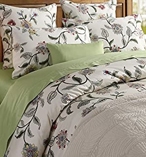 Softta Green Leaves Floral Bedding King Size 3 pcs 1 Duvet Cover+ 2 Pillowcases 100% Egyptian Cotton 800 TC