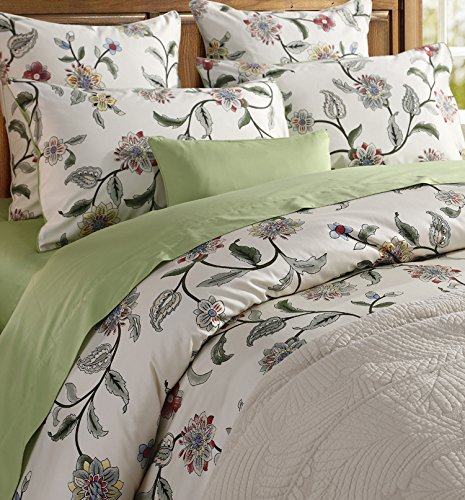 Softta Green Leaves Floral Bedding Twin Size 3 pcs 1 Duvet Cover+ 2 Pillowcases 100% Egyptian Cotton 800 TC with Zipper Closure