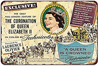 Custom Kraze Metal Sign 1953 A Queen is Crowned Documentary Vintage Look Reproduction 8 x 12