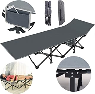 Single Folding Bed Frame,Square Tube Folding Bed Single Bed Office Simple Nap Bed Reclining Bed Outdoor Camping Bed, Gray 190 * 68 * 36Cm