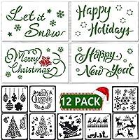 クリスマスステンシル12パック クリスマスペインティングテンプレート DIYクラフトペインティング カード作成 スプレーなどに