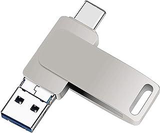 ذاكرة تخزين فلاش USB 3.0 مع وظيفة او تي جي 3 في 1 لتخزين البيانات والصور وحماياتها بالتشفير، تعمل مع ايباد وايفون واجهزة A...